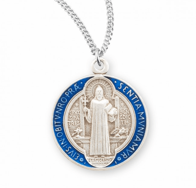 HMH Religious St Benedict Jubilee Sterling Silver Round Blue and Red Enameled Necklace