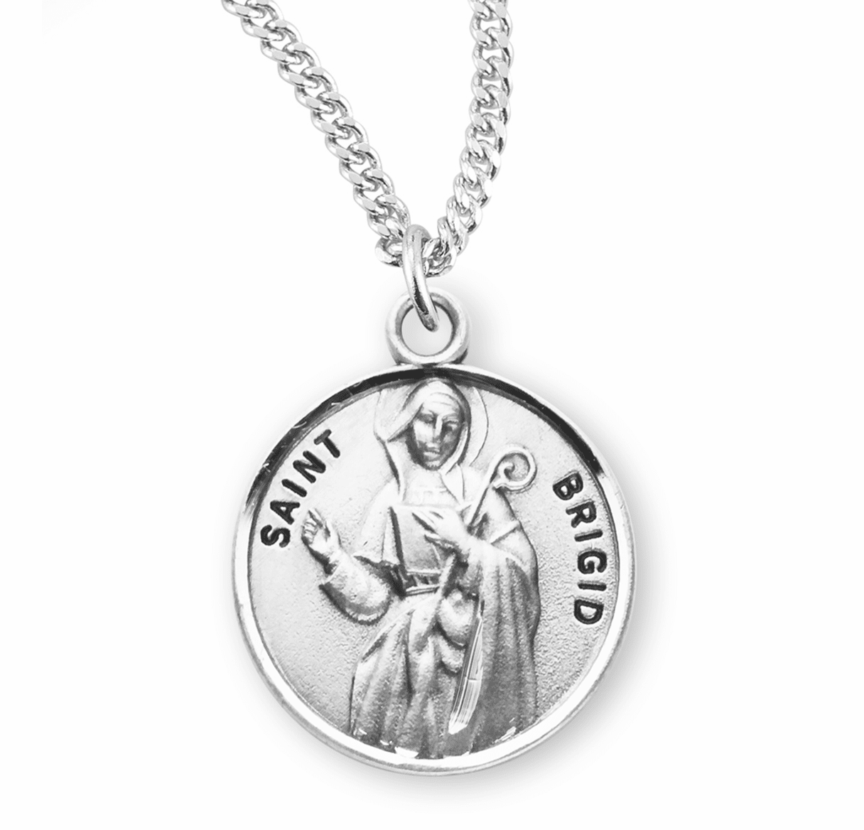 HMH Religious St Brigid of Ireland Sterling Silver Patron Saint Necklace