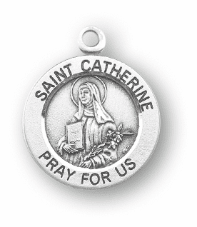 HMH Religious St Catherine of Siena Pray For Us Round Sterling Silver Necklace