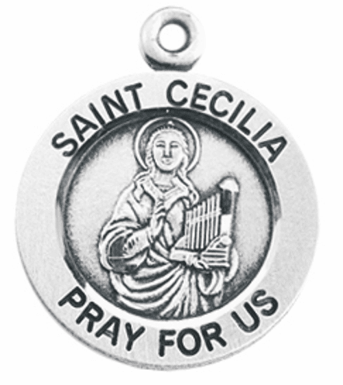 HMH Religious St Cecilia Pray For Us Round Sterling Silver Pendant Necklace