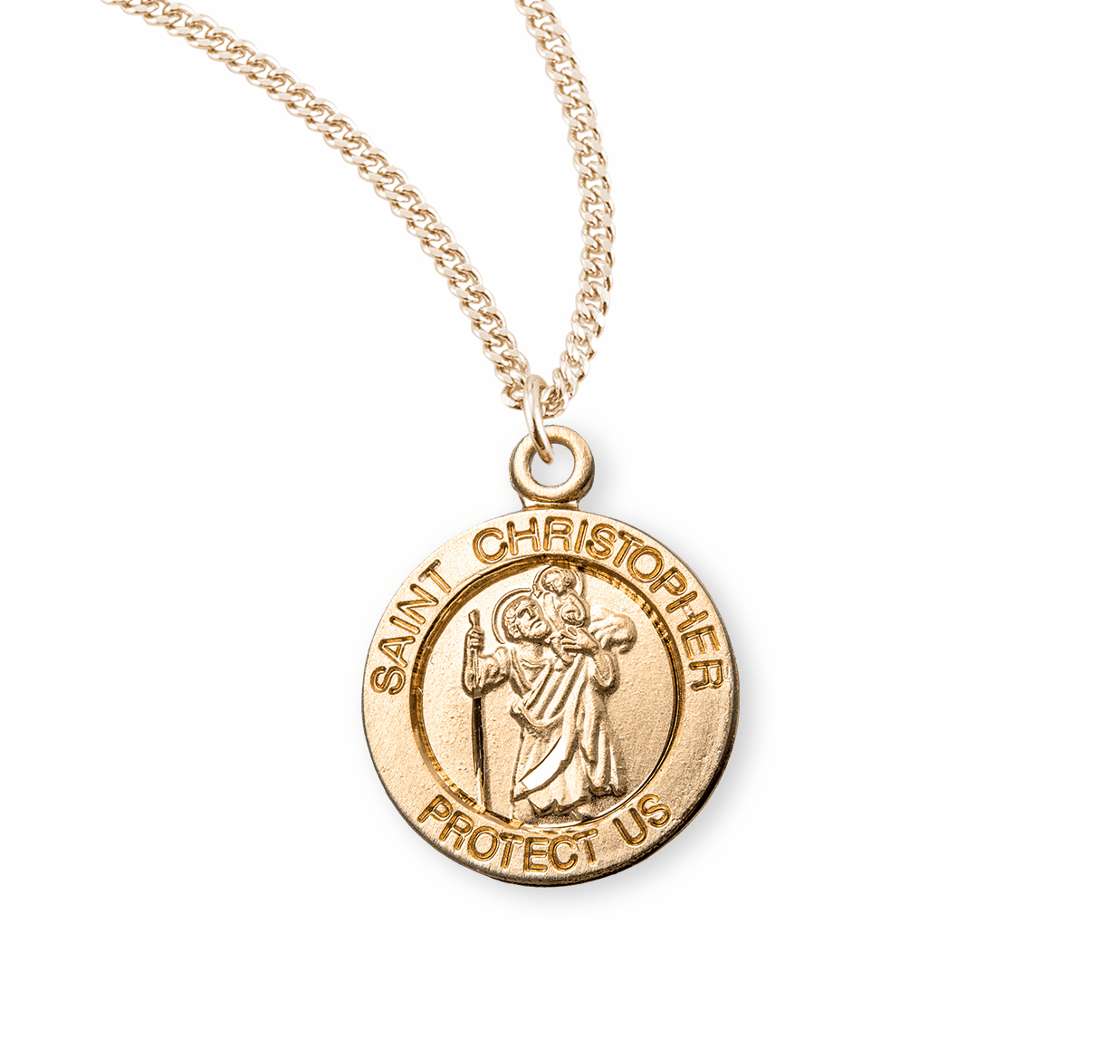 HMH Religious St Christopher carrying the Child Jesus on his Shoulder Gold/Sterling Necklace