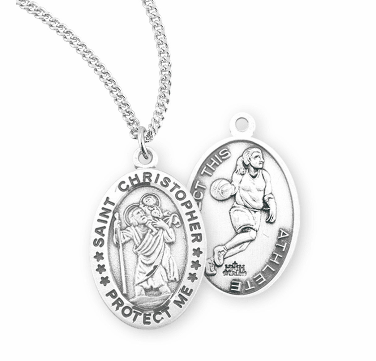 HMH Religious St Christopher Female Basketball Sterling Silver Sports Necklace