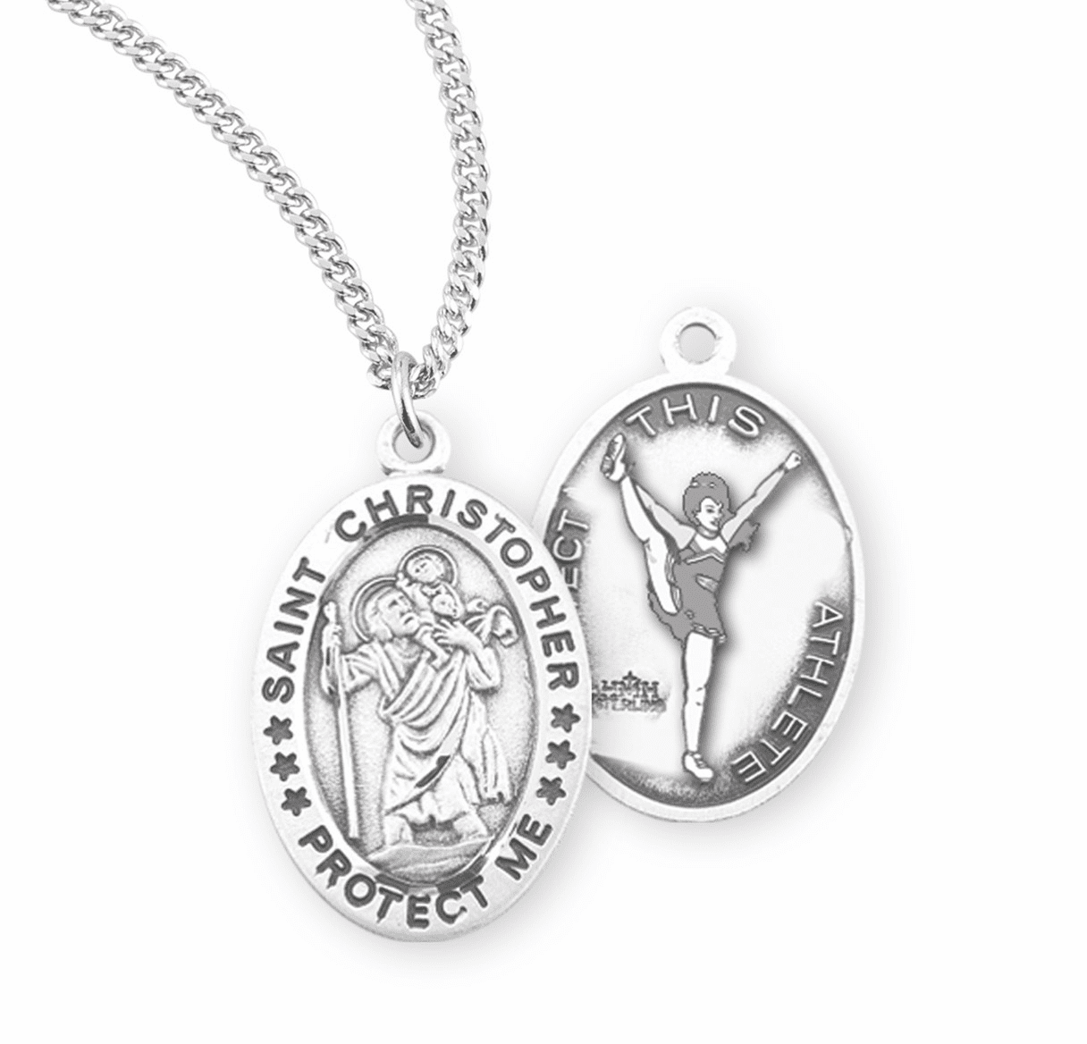HMH Religious St Christopher Female Cheerleading Sterling Silver Sports Necklace