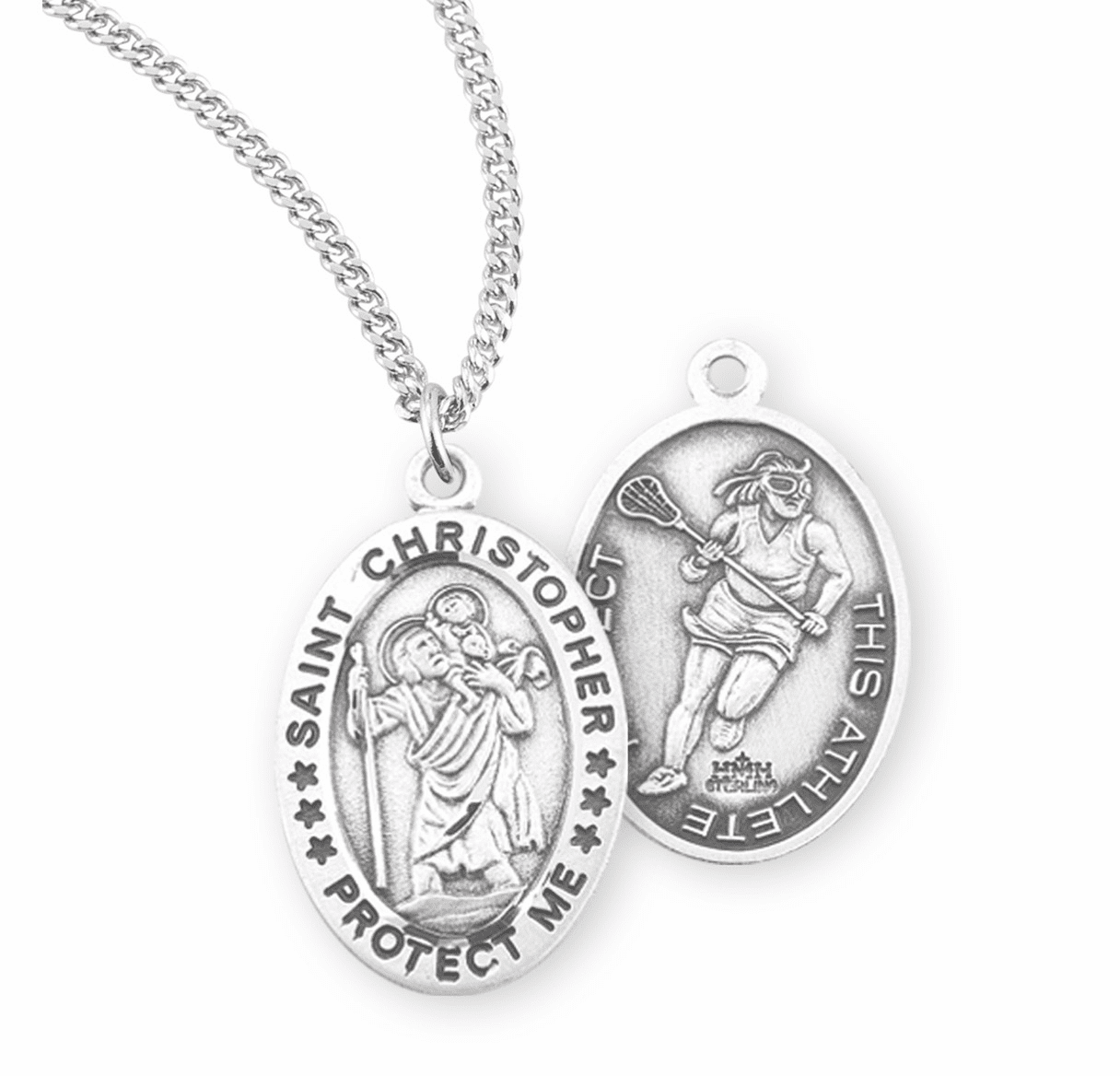 HMH Religious St Christopher Female Lacrosse Sterling Silver Sports Necklace