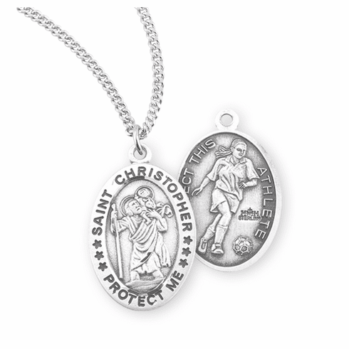 HMH Religious St Christopher Female Soccer Sterling Silver Sports Necklace