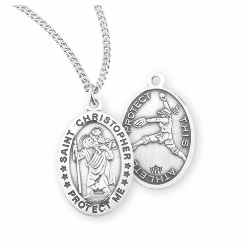 HMH Religious St Christopher Female Softball Sterling Silver Sports Necklace