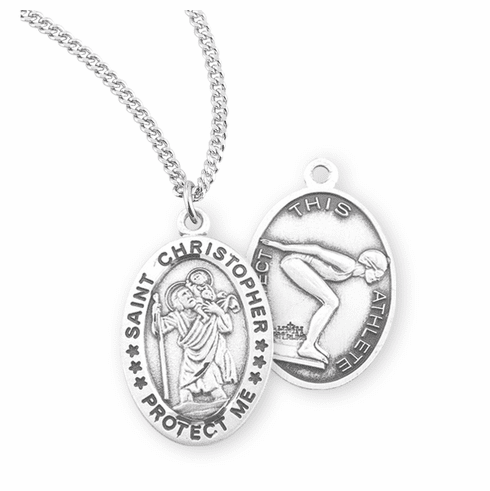 HMH Religious St Christopher Female Swimming Sterling Silver Sports Necklace