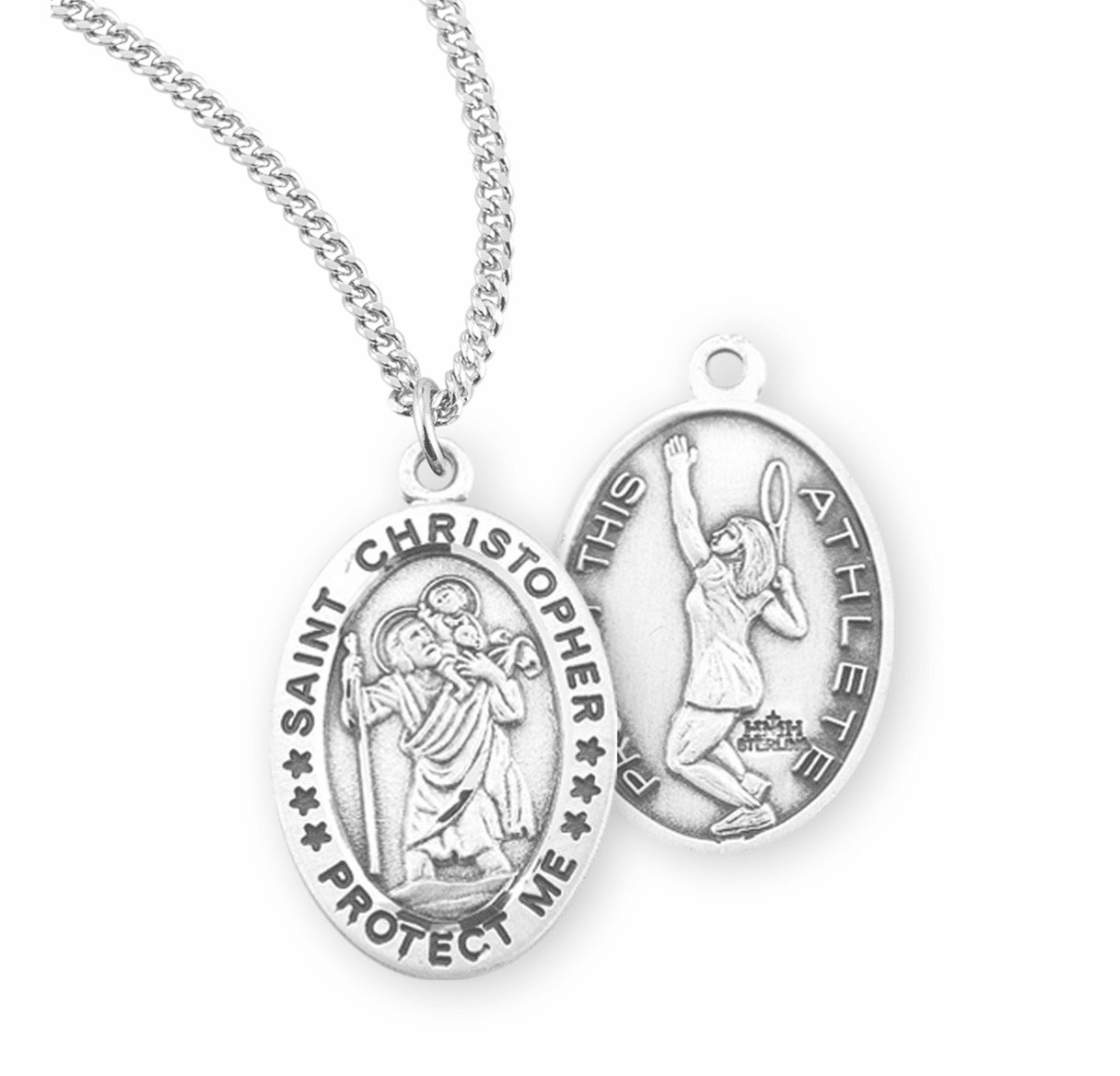 HMH Religious St Christopher Female Tennis Sterling Silver Sports Necklace