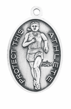 HMH Religious St Christopher Female Track and Field Sterling Silver Sports Necklace