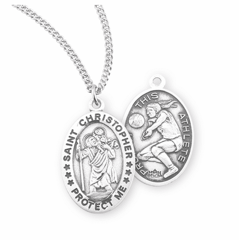 HMH Religious St Christopher Female Volleyball Sterling Silver Sports Necklace