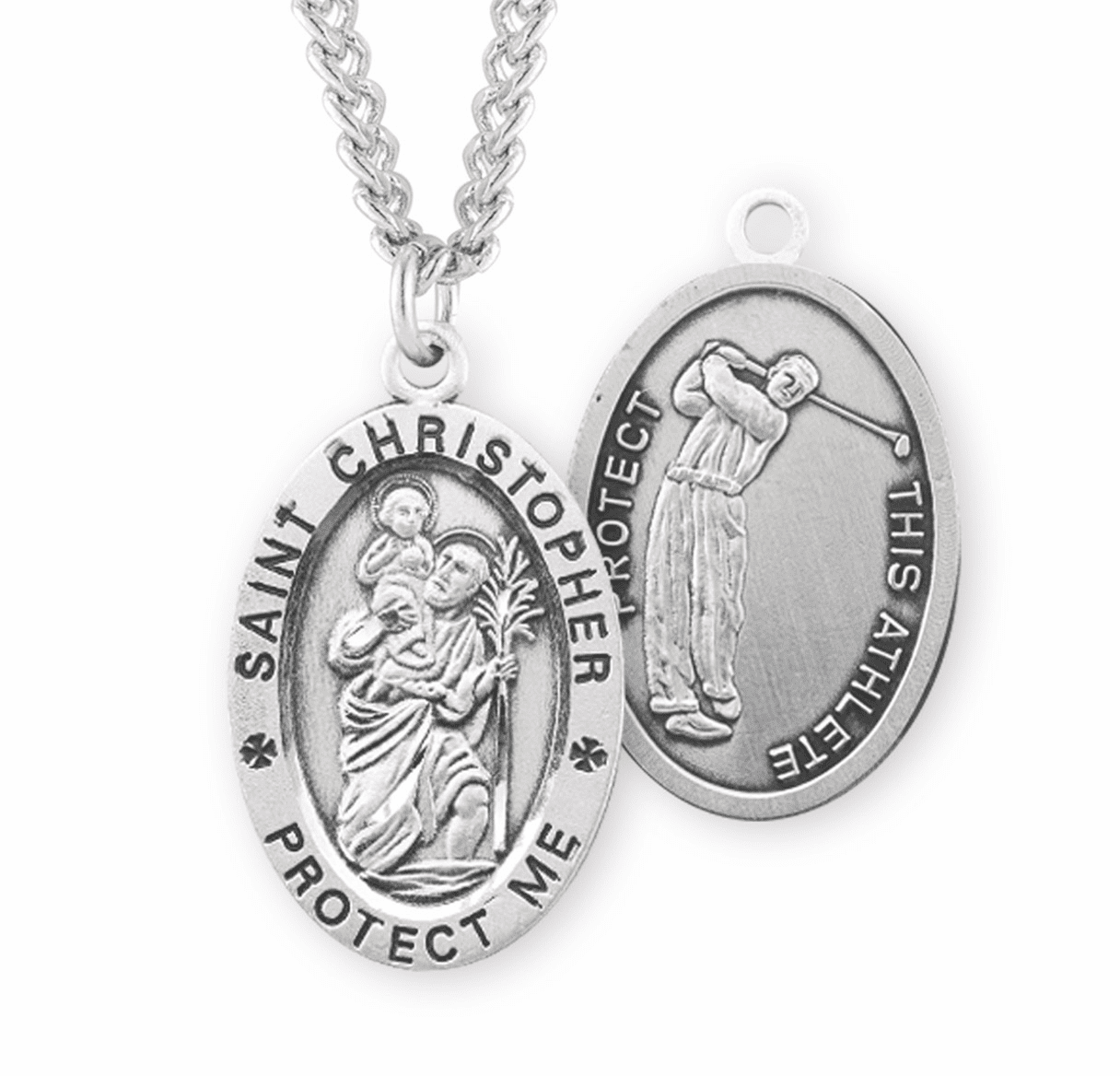 HMH Religious St Christopher Golf Sterling Silver Necklace