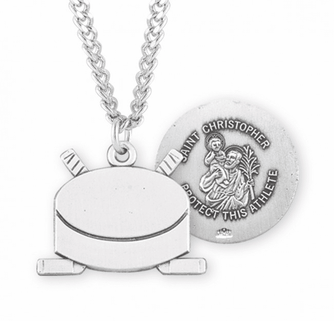 HMH Religious St Christopher Hockey Puck Sports Necklace