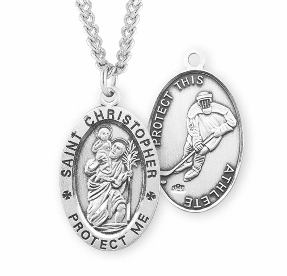 HMH Religious St Christopher Hockey Sterling Silver Necklace