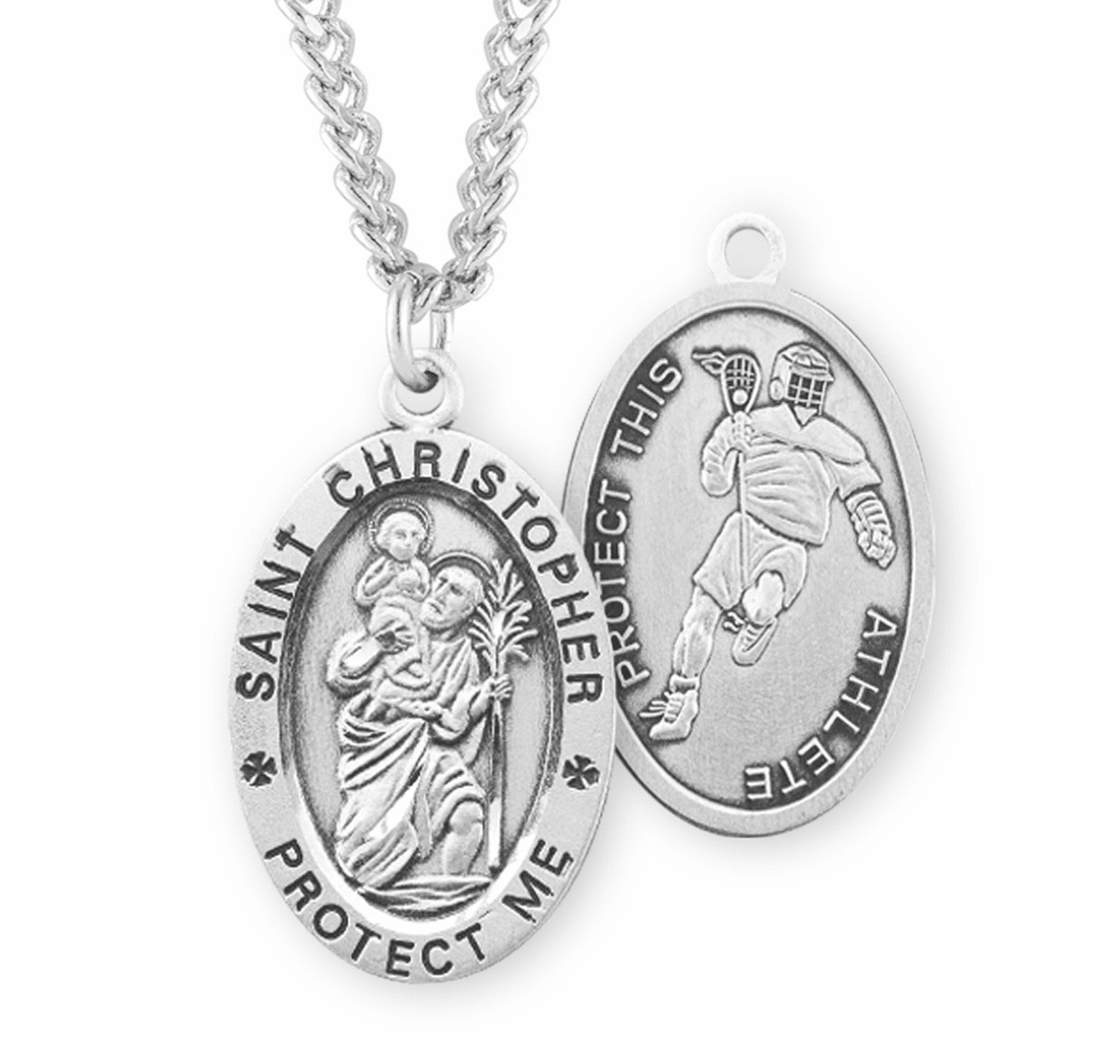 HMH Religious St Christopher Lacrosse Sports Necklace