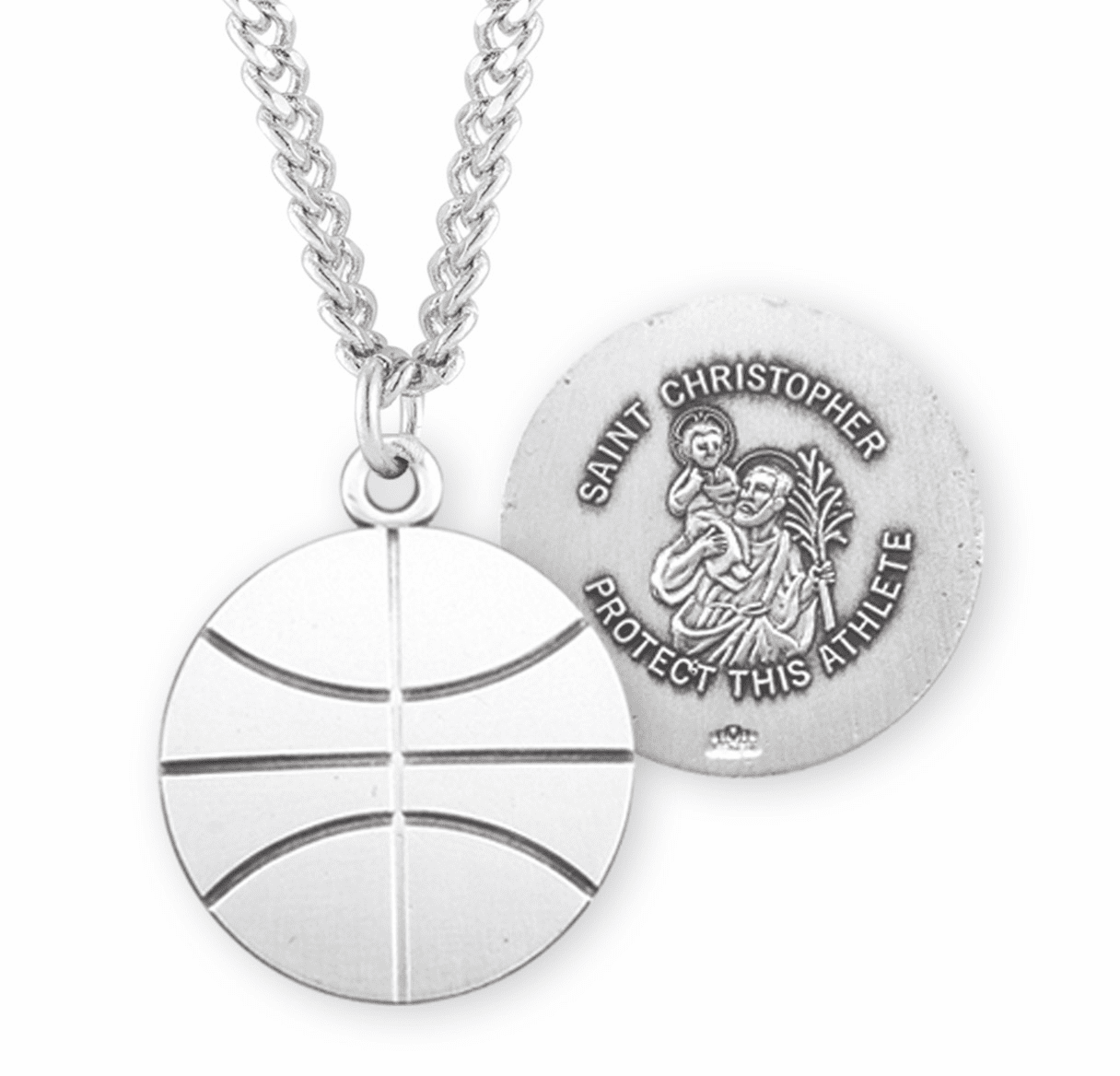 HMH Religious St Christopher Sterling Silver Basketball Necklace