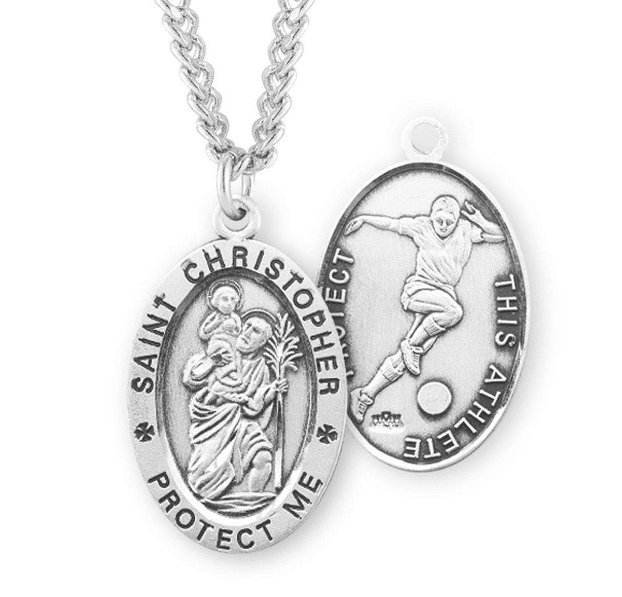 HMH Religious St Christopher Sterling Silver Soccer Necklace
