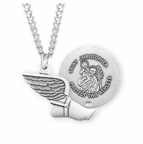 HMH Religious St Christopher Sterling Silver Track and Field Necklace