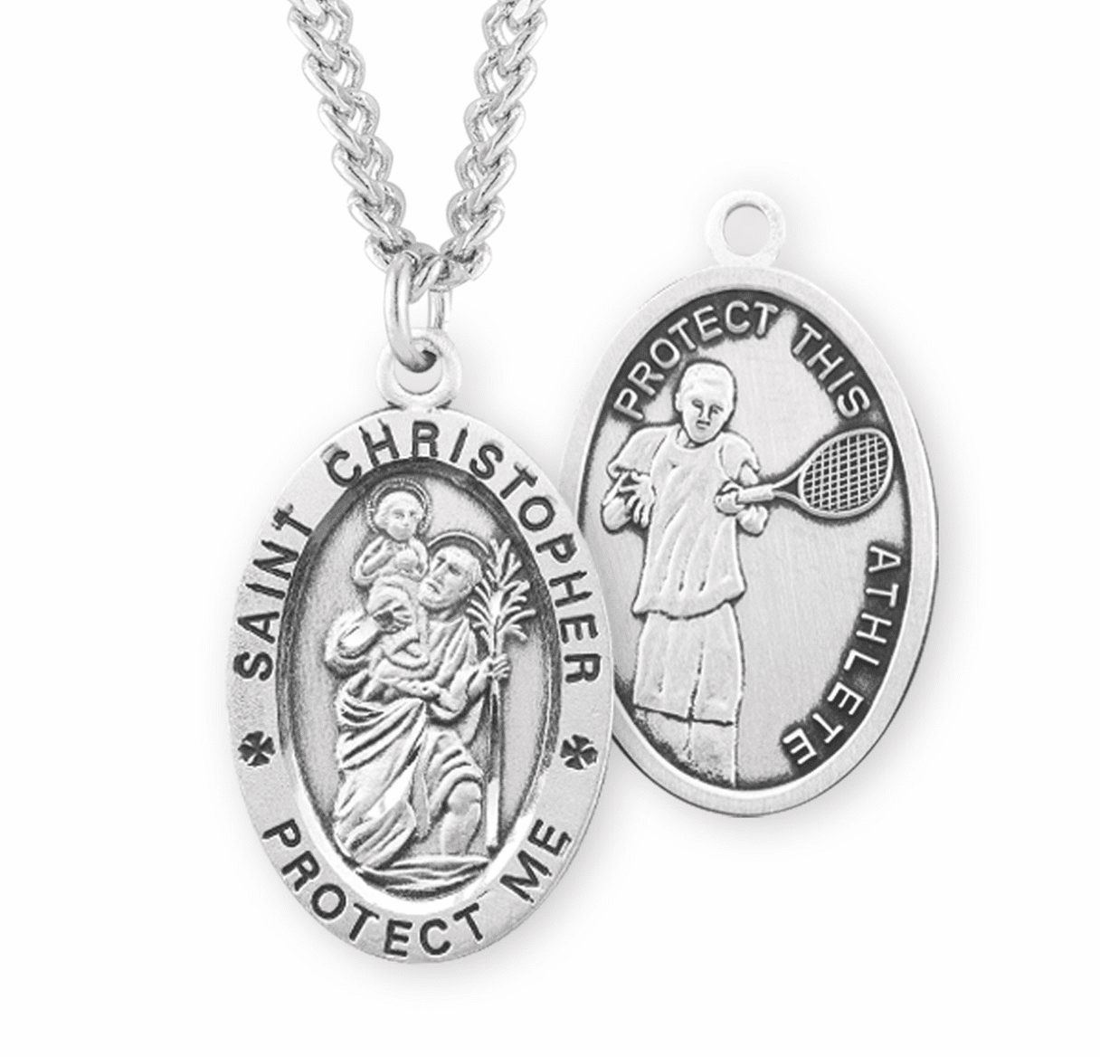 HMH Religious St Christopher Tennis Sterling Silver Necklace