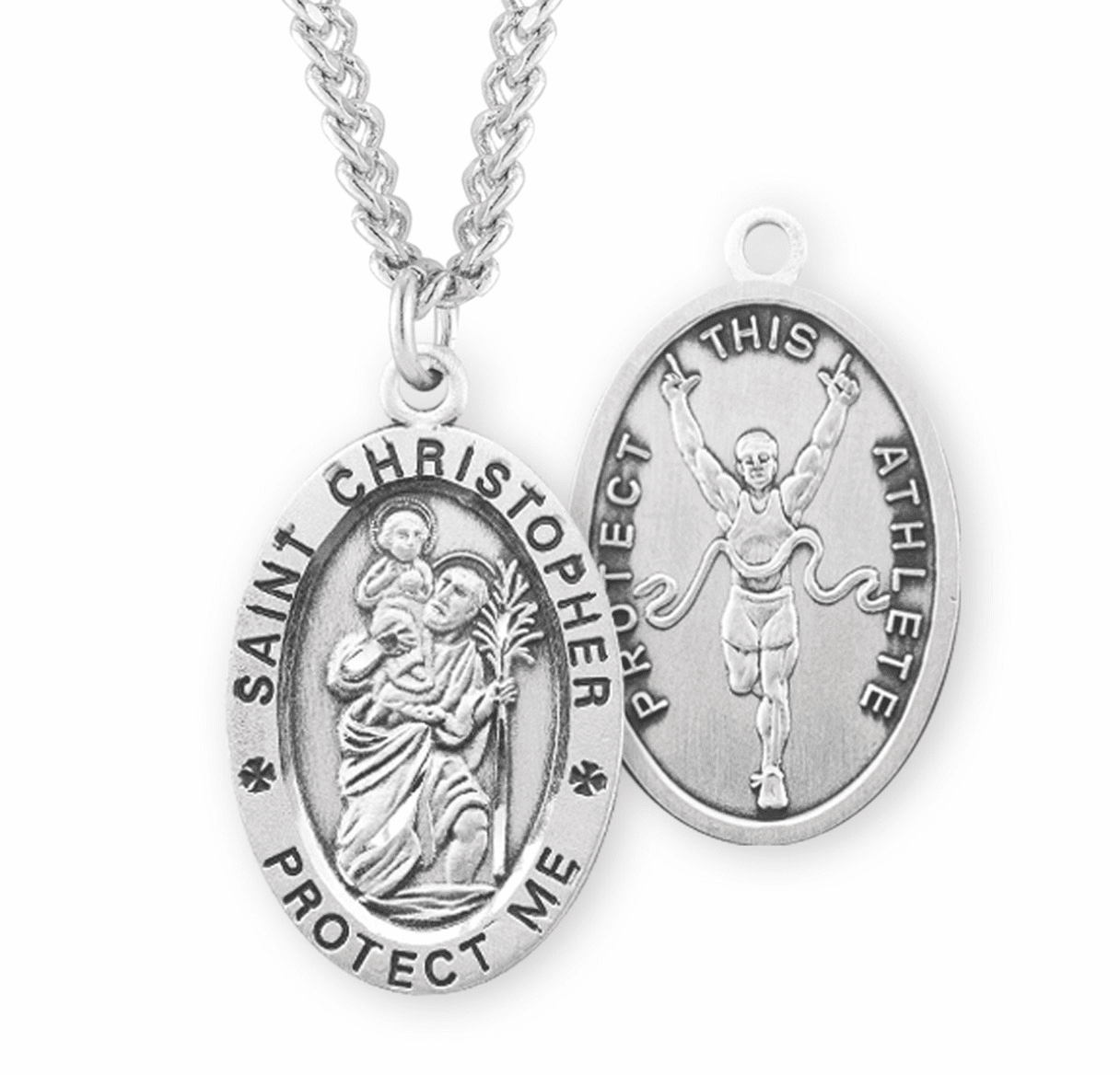 HMH Religious St Christopher Track Sterling Silver Necklace