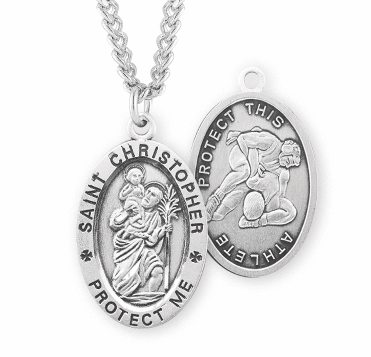 HMH Religious St Christopher Wrestling Sports Necklace