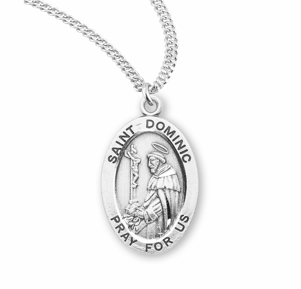 HMH Religious St Dominic Sterling Silver Patron Saint Medal Necklace