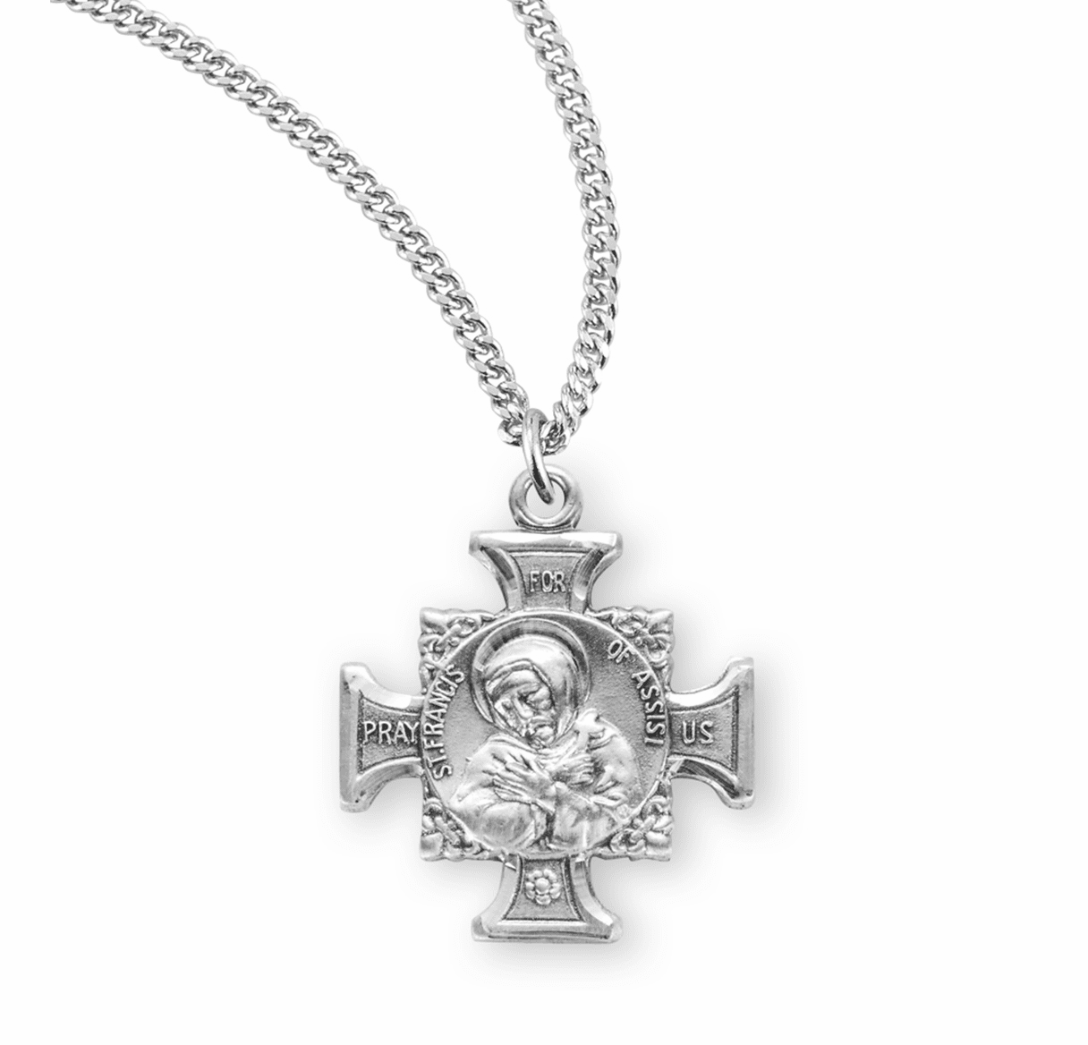 HMH Religious St Francis and St Anthony Sterling Silver Maltese Cross Necklace