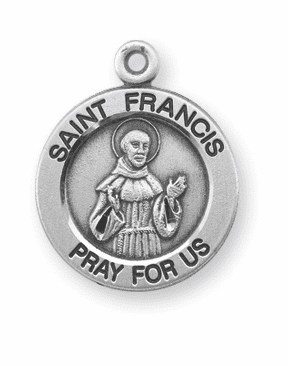 HMH Religious St Francis Pray For Us Round Sterling Silver Pendant Necklace