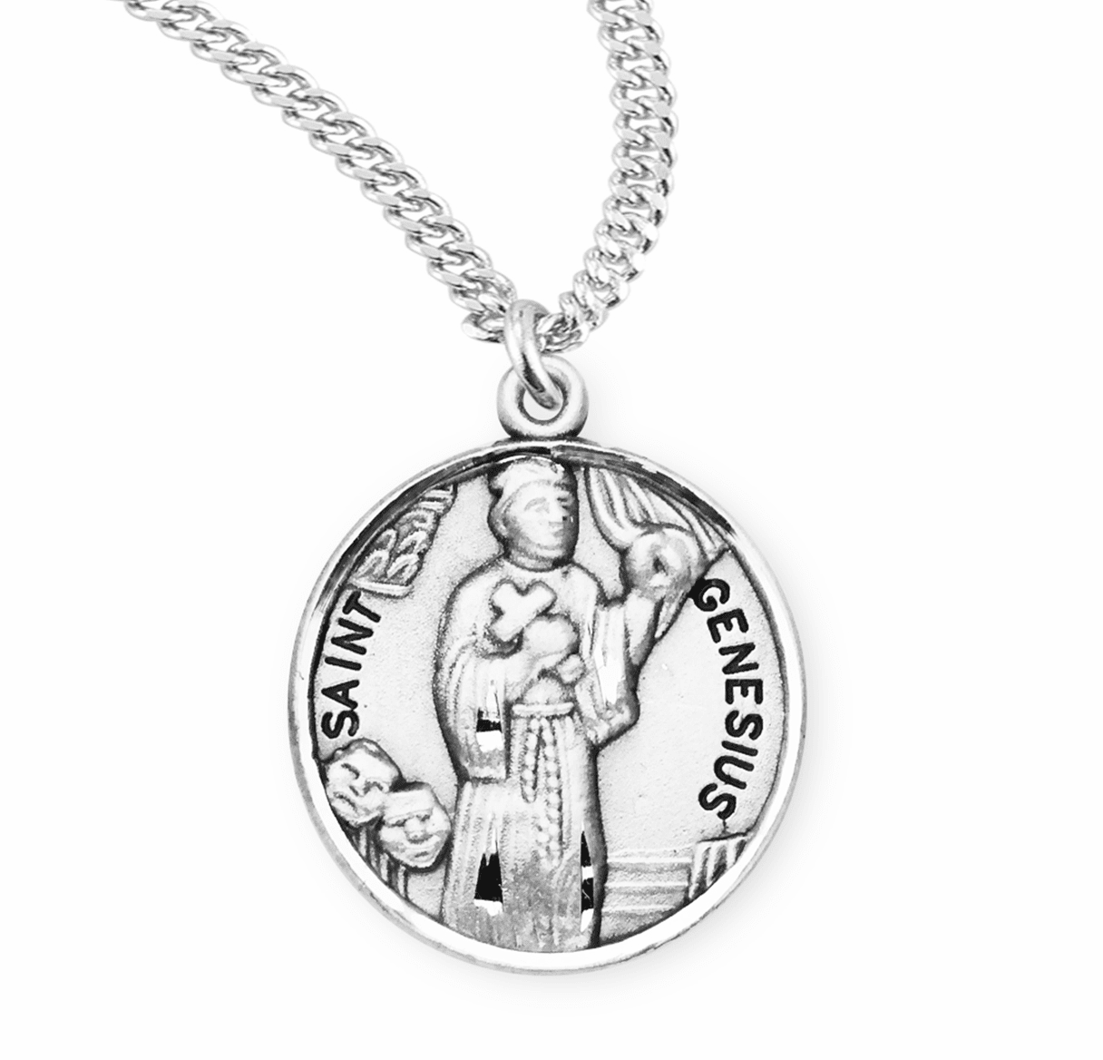 HMH Religious St Genesius of Rome Sterling Silver Patron Saint Necklace