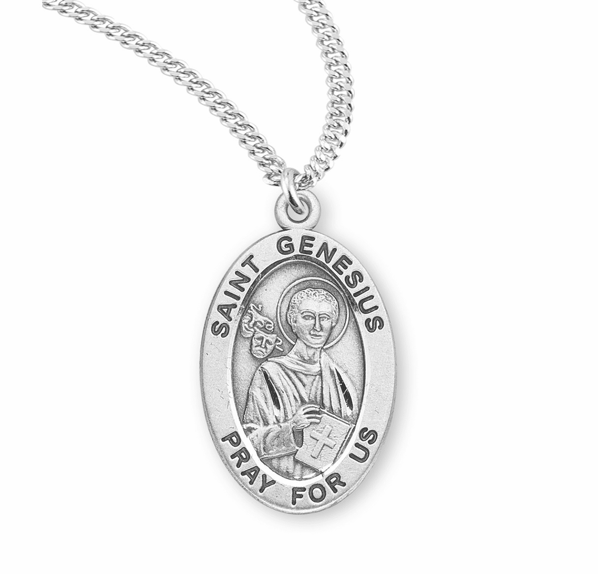HMH Religious St Genesius Sterling Silver Saint Medal Necklace