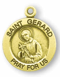 HMH Religious St Gerard holding a Cross with a Lily Round Gold/Sterling Pendant Necklace
