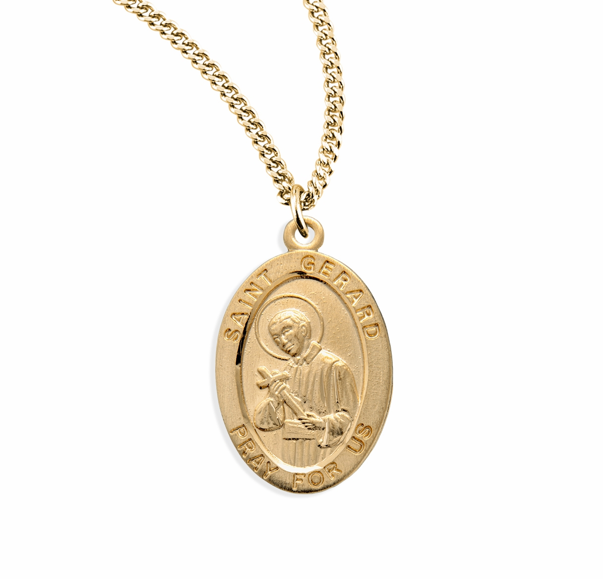 HMH Religious St Gerard Oval Gold over Sterling Medal Necklace