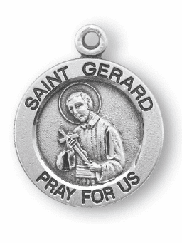HMH Religious St Gerard Pray For Us Round Sterling Silver Pendant Necklace