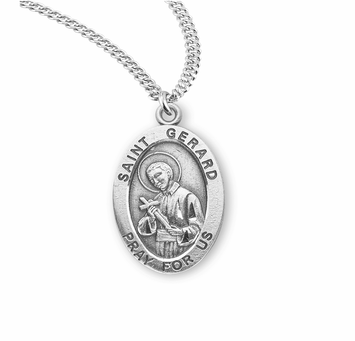 HMH Religious St Gerard Sterling Silver Saint Medal Necklace