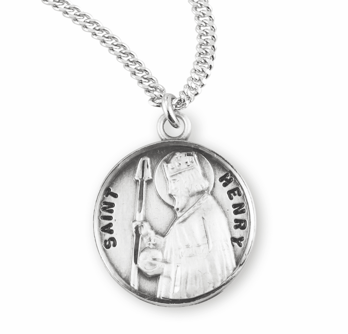 HMH Religious St Henry II Sterling Silver Patron Saint Necklace