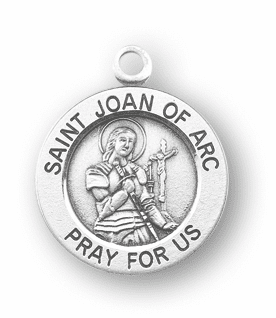 HMH Religious St Joan of Arc Pray For Us Sterling Silver Pendant Necklace