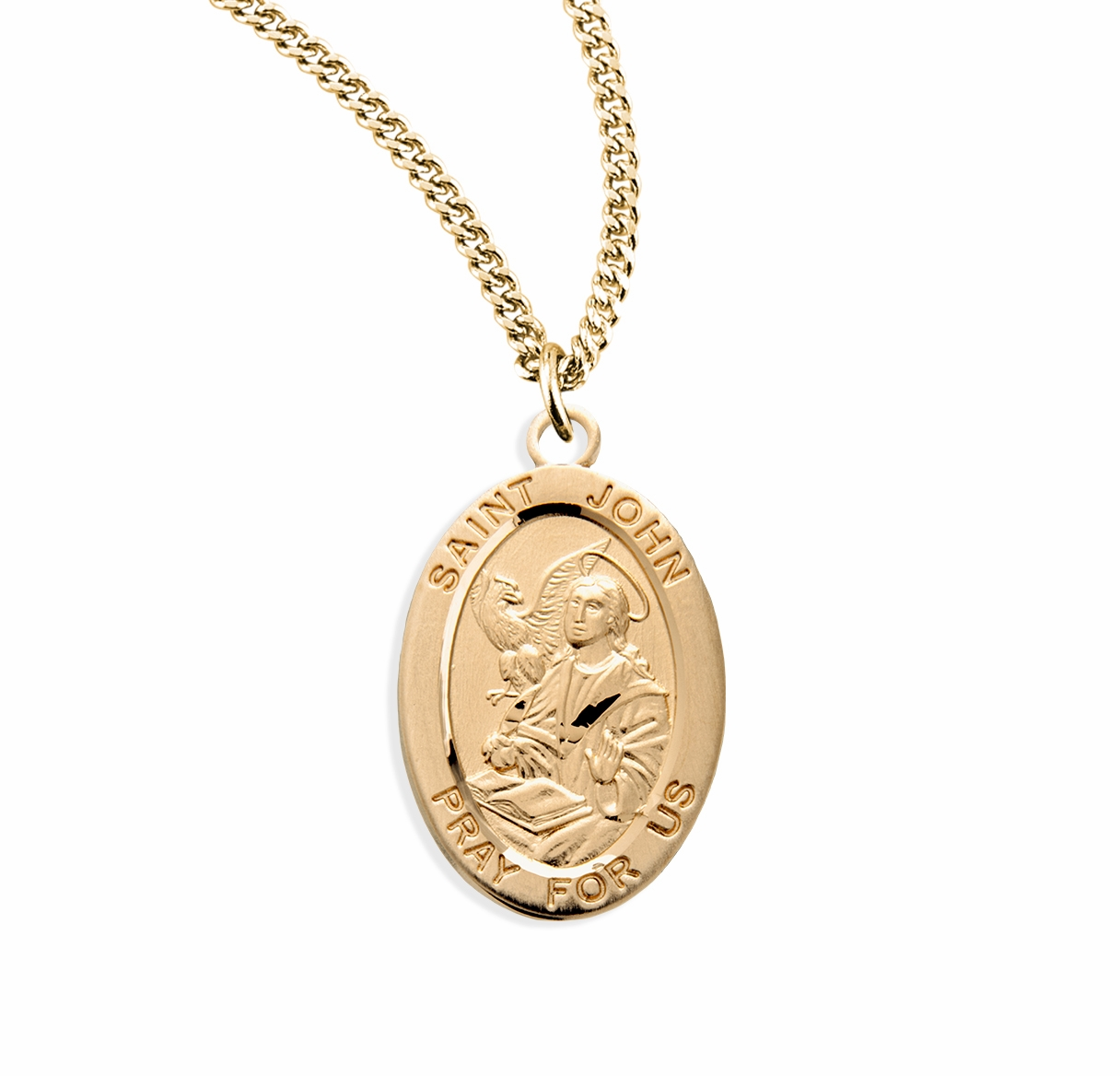 HMH Religious St John the Evangelist Oval Gold over Sterling Medal Necklace