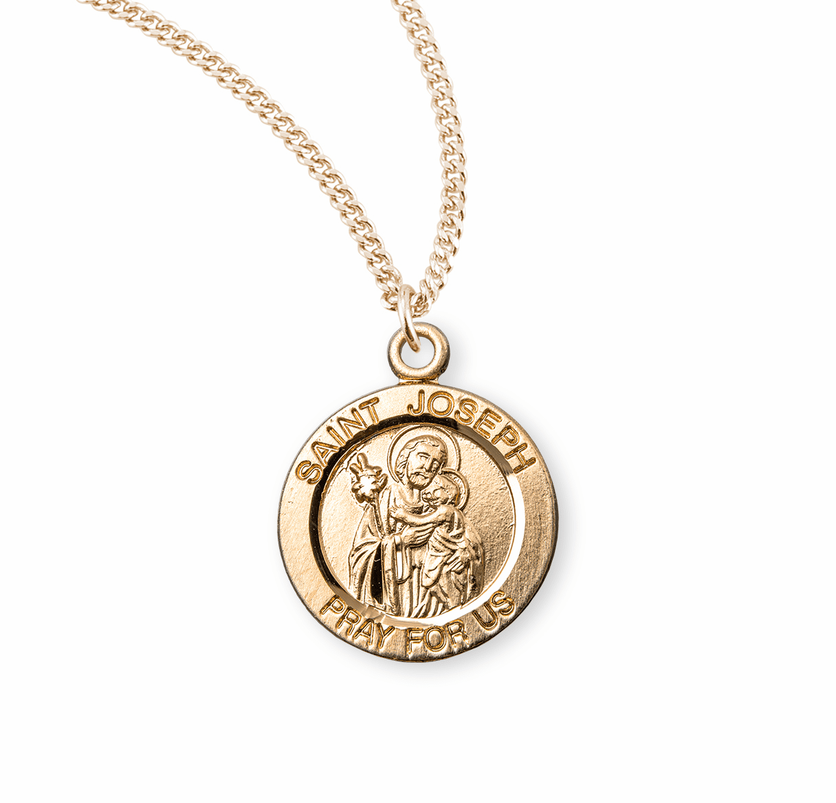 HMH Religious St Joseph holding Baby Jesus Round Gold/Sterling Pendant Necklace