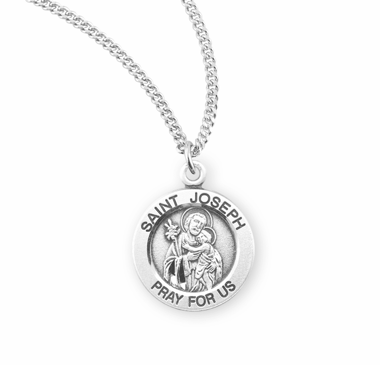 HMH Religious St Joseph holding Baby Jesus Round Sterling Silver Pendant Necklace