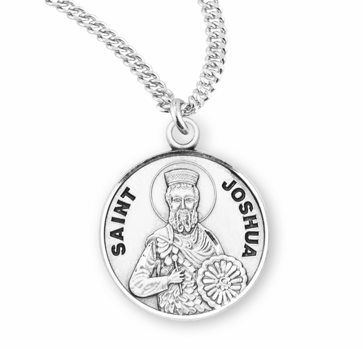 HMH Religious St Joshua Sterling Silver Patron Saint of Necklace