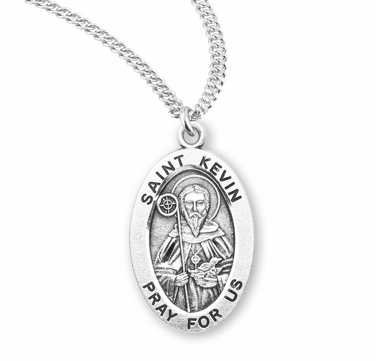 HMH Religious St Kevin Sterling Silver Saint Medal Necklace