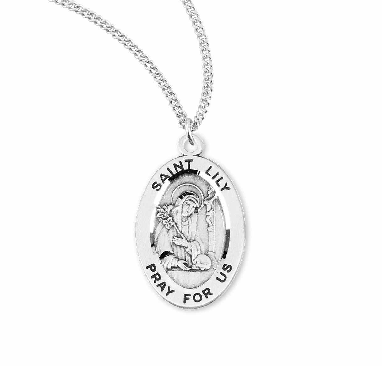 HMH Religious St Lily Catholic Saint Sterling Silver Medal Necklace