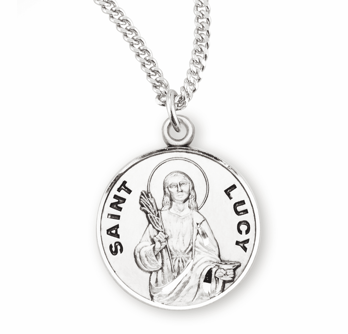HMH Religious St Lucy Sterling Silver Patron Saint of Writers Medal Necklace