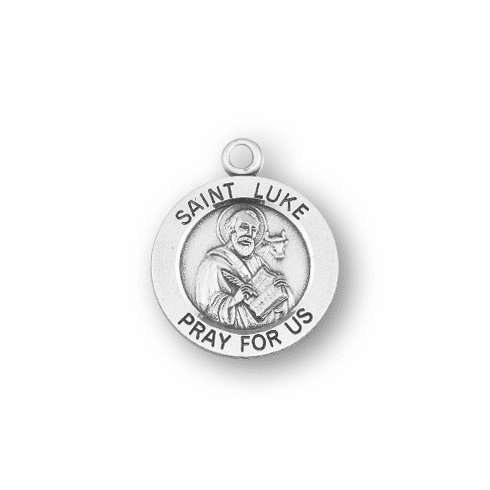 HMH Religious St Luke Drawing in a Book w/Bull Round Sterling Silver Pendant Necklace