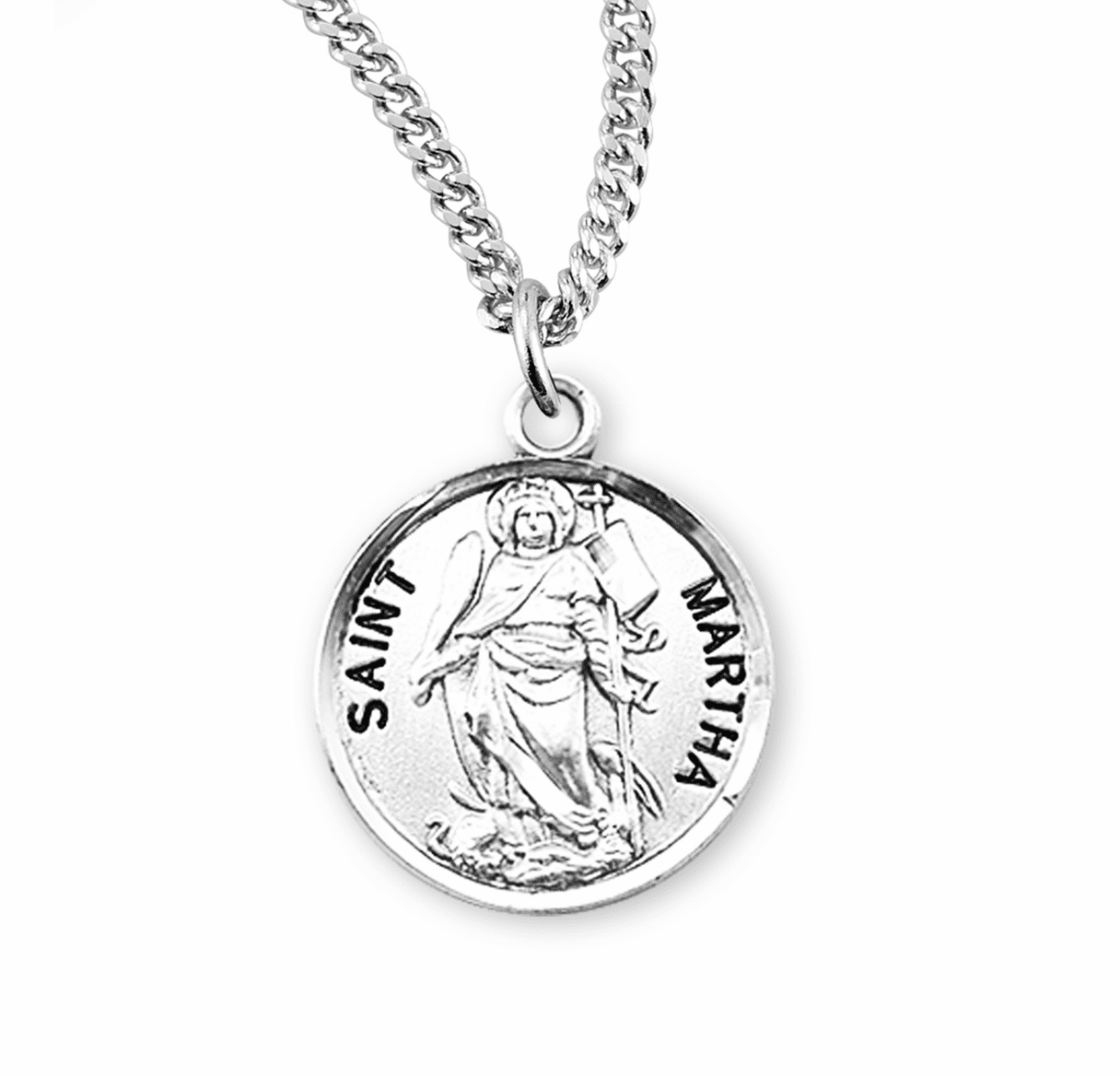 HMH Religious St Martha Sterling Silver Patron Saint of Maids Medal Necklace