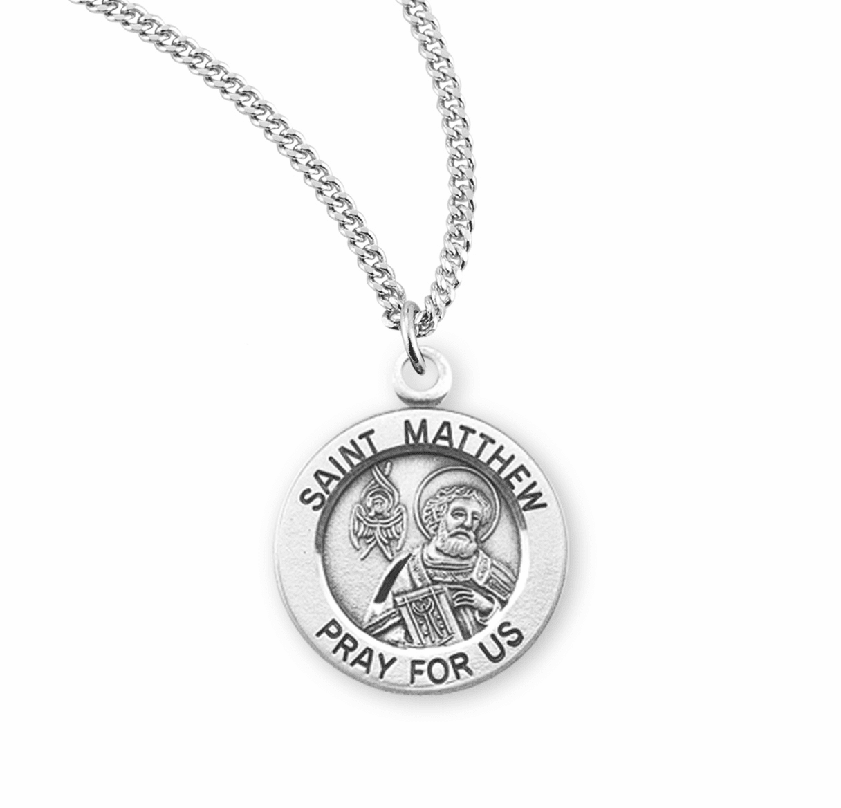 HMH Religious St Matthew with an Angel Writing his Gospel Book Sterling Necklace