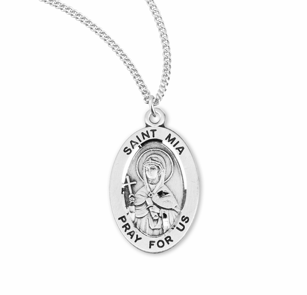 HMH Religious St Mia Catholic Saint Sterling Silver Medal Necklace
