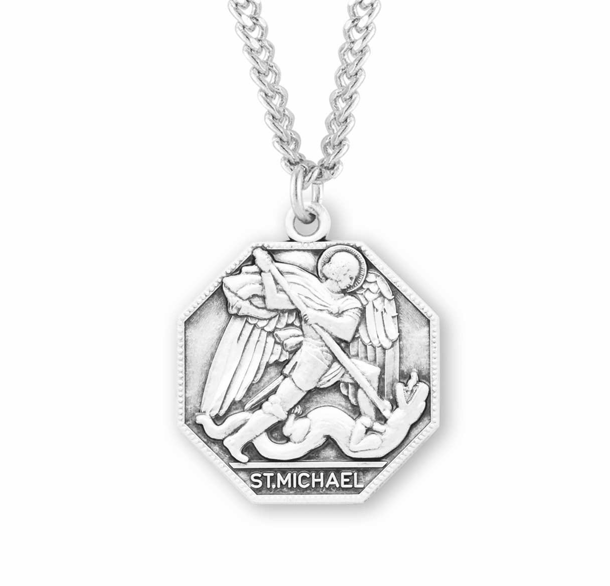 HMH Religious St Michael Octagon Sterling Silver Medal Necklace
