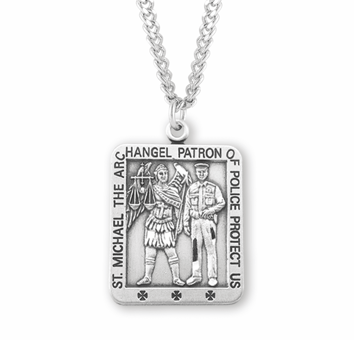 HMH Religious St Michael Police Officer Sterling Silver Medal Necklace
