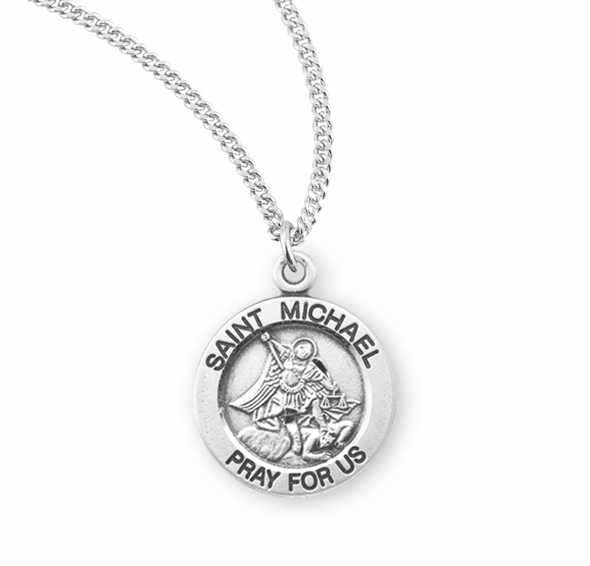 HMH Religious St Michael Slaying Lucifer Sterling Silver Pendant Necklace w/Chain