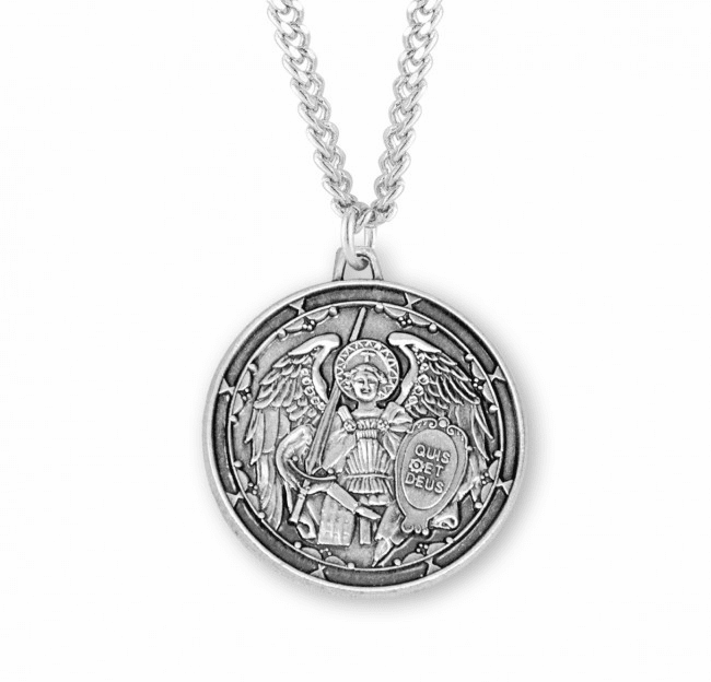 HMH Religious St Michael the Archangel Round Sterling Silver Enameled Medal Necklace
